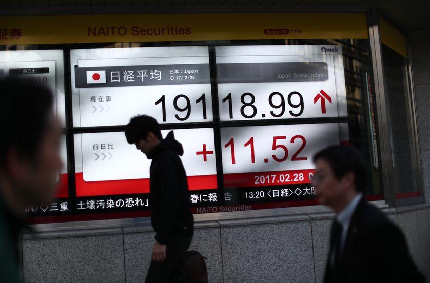 Le cours du Nikkei, avant-hier à la bourse de Tokyo