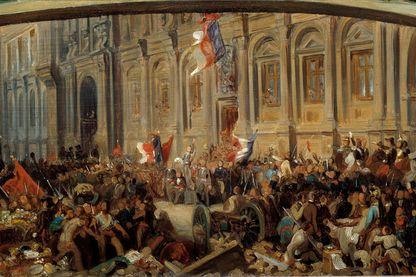 Révolution de 1848: Alphonse de Lamartine (1790-1869), écrivain et politicien français, rejette le drapeau rouge devant l'hôtel de ville le 25 février 1848. Peinture de Felix Philippoteaux (vers 1815-1884), 1848. Musée Carnavalet, Paris