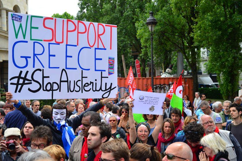 Manifestation contre les politiques d'austérité de l'UE à Paris le 20 juin 2015