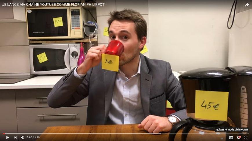 Antoine Léaument parodiant Florian Philippot dans une vidéo publiée sur Youtube