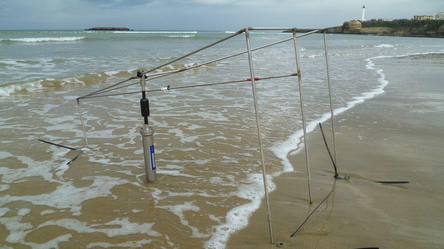 L'un des capteurs sur la grande plage de Biarritz