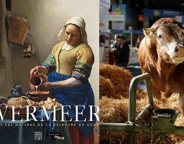 Affiche de l'exposition Vermeer au Louvre // Une vache au salon de l'agriculture