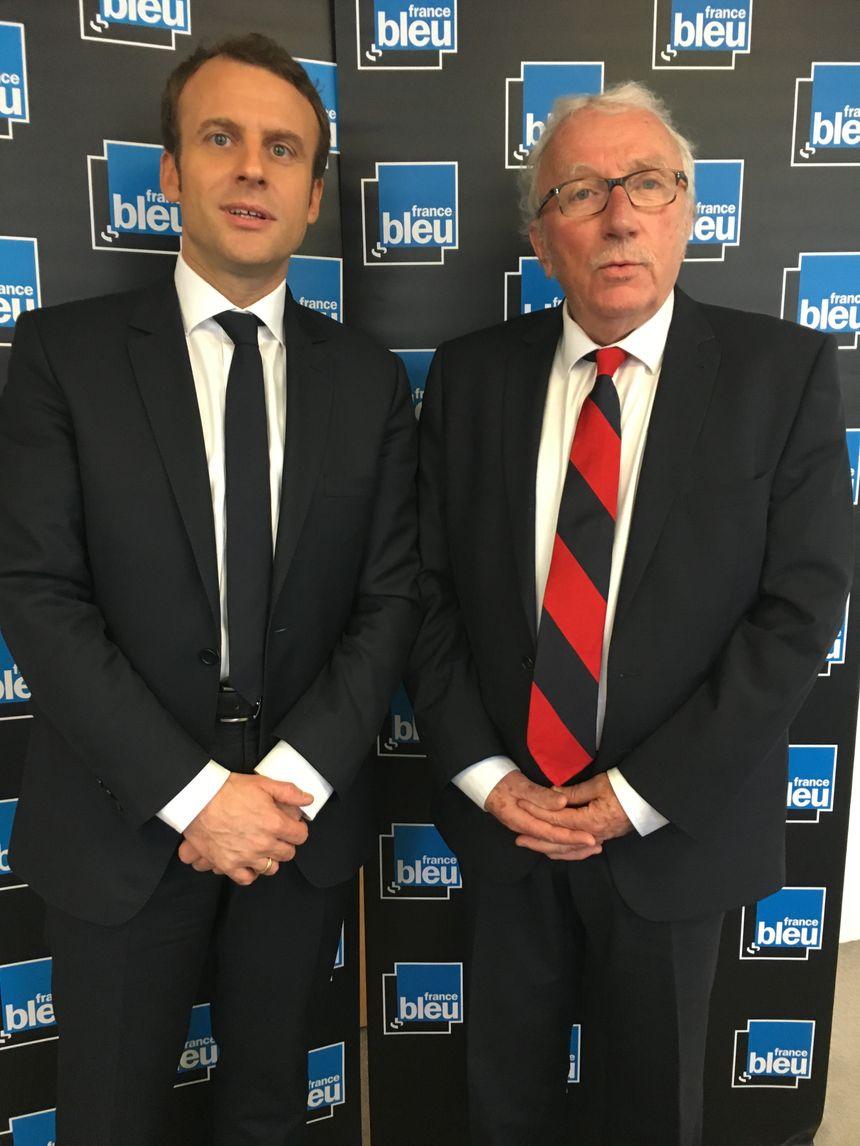 Emmanuel Macron et Jacques Vendroux