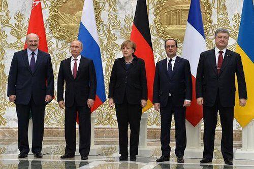 Minsk, Angela Merkel, Francois Hollande, Petro Poroshenko and Vladimir Putin are take part in the talks on a settlement to the situation in Ukraine, 11 February 2015