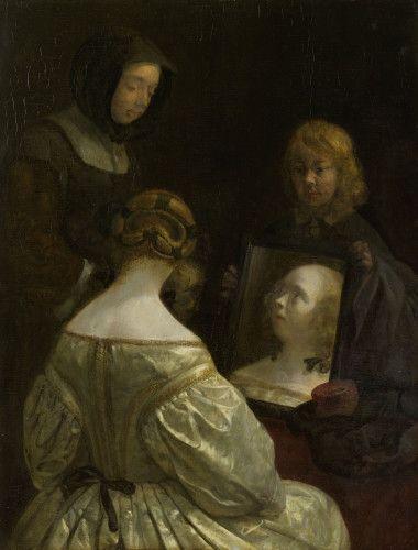 Gerard Ter Borch, Femme à son miroir vers 1651 1652 Huile sur panneau Amsterdam Rijksmuseum