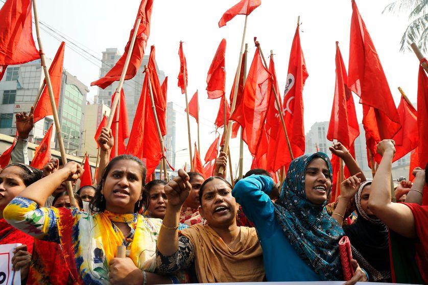 Manifestation des salariés du textile à Dhaka le 10 février 2017 pour réclamer la libération des leaders syndicaux arrêtés