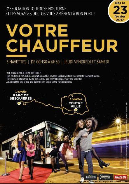 """Des flyers et des affiches annoncent la mise en place de """"Votre chauffeur"""" depuis quelques jours dans Toulouse"""