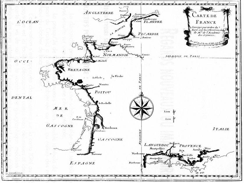 """La """"Carte de France corrigée par ordre du Roy"""", montre la côte française recalculée."""