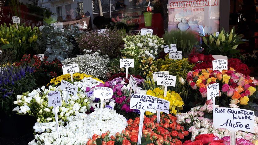 """Fleuriste qui indique la provenant Equateur de ses roses, car dit-il """"elles sont plus belles et donc plus chères que les autres"""""""