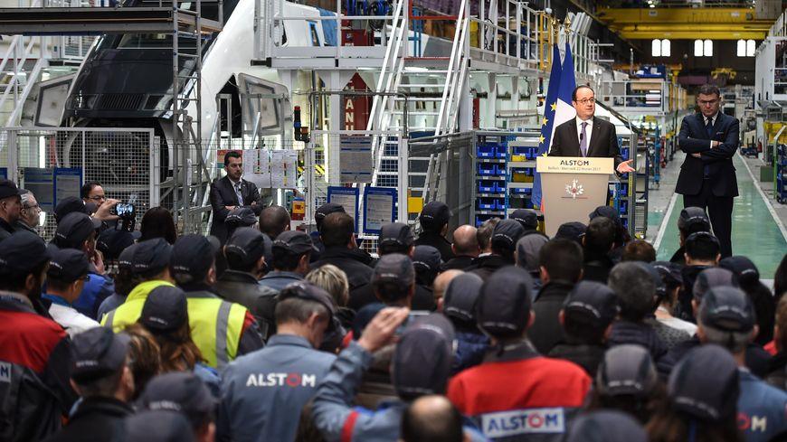 François Hollande devant les salariés d'Alstom, mercredi matin