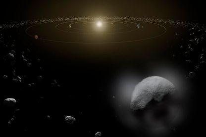 Cérès au milieu de la ceinture d'astéroïdes