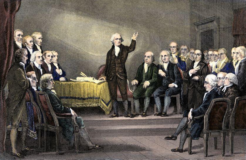 George Washington préside la Convention constitutionnelle adoptant la Constitution américaine en 1787 à Philadelphie.