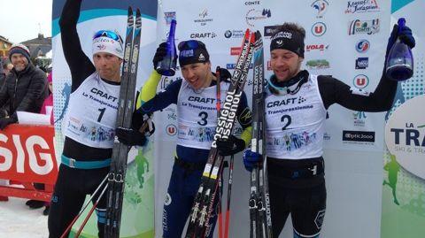 """Les """"Bronzés"""" des JO de Sotchi sur le podium de la Transju 2017 : J-M Gaillard (2e), R. Duvillard (1er), I. Perrillat-Boiteux (3è)"""