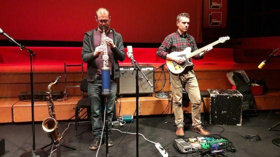 Matthieu Donarier et Santiago Quintans au studio 106 de Radio-France
