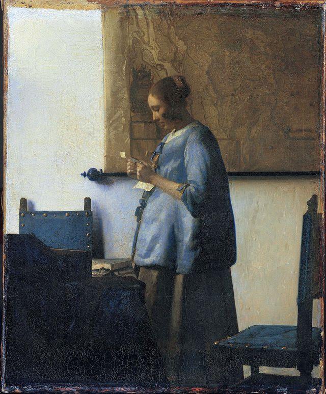 Jeune femme en bleu lisant une lettre de Vermeer, 1662-1663. Amsterdam, Rijksmuseum