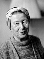 Portrait de Simone de Beauvoir en 1983 à Paris.