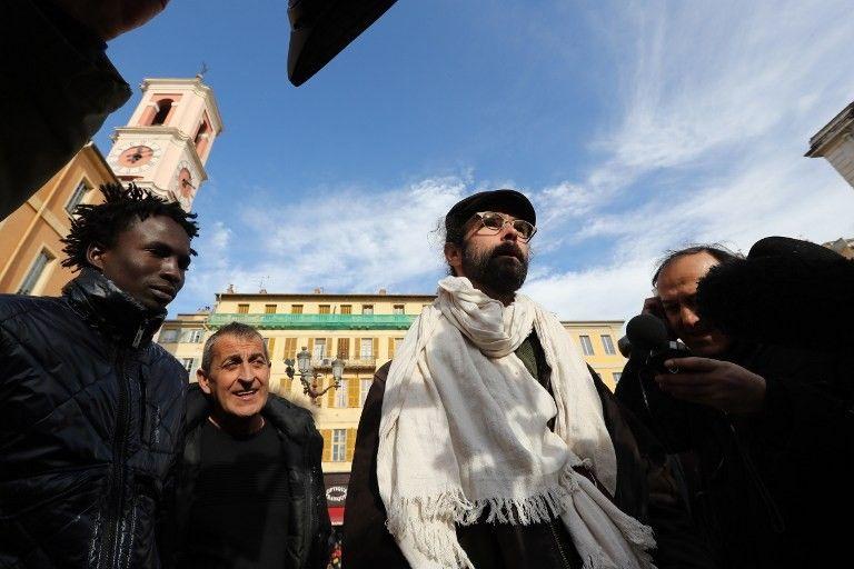 Cédric Herrou, l'agriculteur de la vallée de la Roya jugé pour avoir aidé des migrants, lors de son procès à Nice le 4 janvier dernier