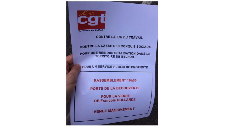 Le tract distribué aux salariés d'Alstom pour la visite de François Hollande