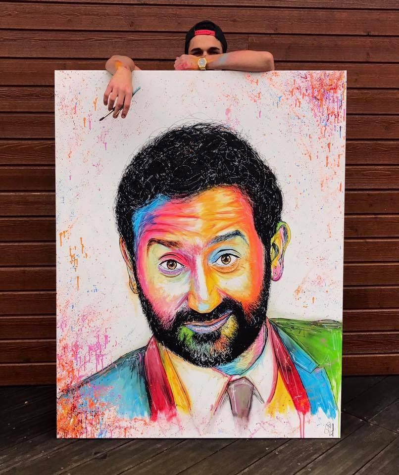 Benjamin a mis deux semaines pour peindre cette toile de Cyril Hanouna le présentateur télé.