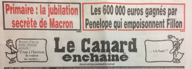 """""""Les 600 000€ gagnés par Penelope qui empoisonnent Fillon"""", Une du Canard enchaîné le 25/01/17"""