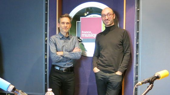 """France Musique, studio 142... le producteur Philippe Venturini & Emmanuel Reibel, l'un des auteurs """"Regards sur le Dictionnaire de musique de Rousseau. Des Lumières au Romantisme"""" (de g. à d.)"""