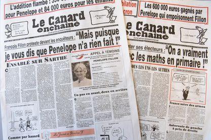"""Les Unes du Canard Enchaîné du 25 janvier et du 1er février qui révèlent l'affaire du """"Penelope gate"""""""