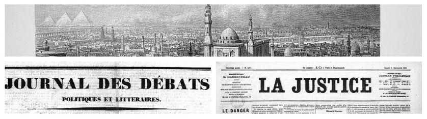 """Vue du Caire, par Bernhard Fiedler,1882,  """"Egypt: Descriptive, Historical, Picturesque"""" by G. Ebers / Journal des Débats/ La Justice"""