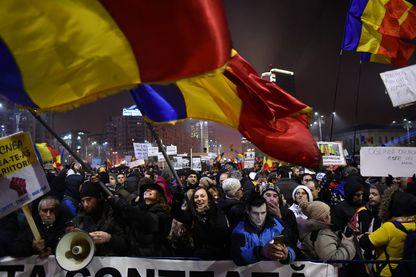 Manifestation à Bucarest devant le bâtiment du gouvernement, Roumanie - 5 février 2017