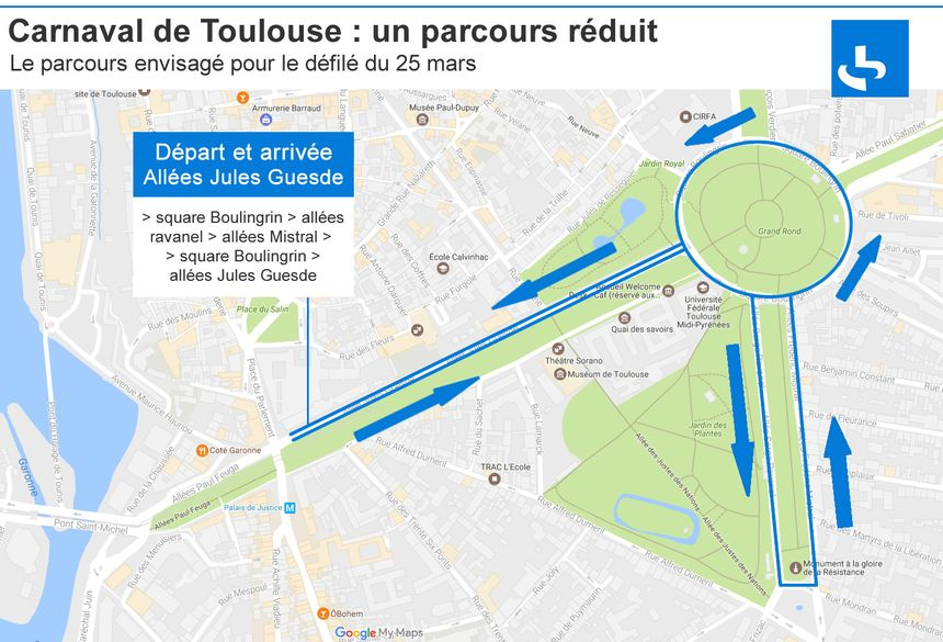 Le parcours probable du grand défilé du carnaval de Toulouse 2017 tournera autour du Grand Rond