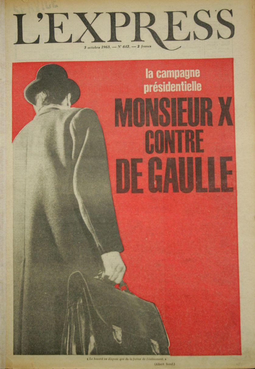Photo prise le 05 décembre 2006 de la couverture du magazine L'Express du 03 octobre 1963, faisant référence à la candidature alors mystère de Gaston Defferre à l'élection présidentielle de 1965.
