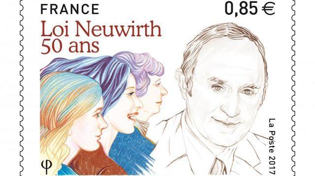 Le timbre lancé par La Poste, à l'effigie du Stéphanois Lucien Neuwirth, l'auteur de la loi qui autorise l'usage des contraceptifs.