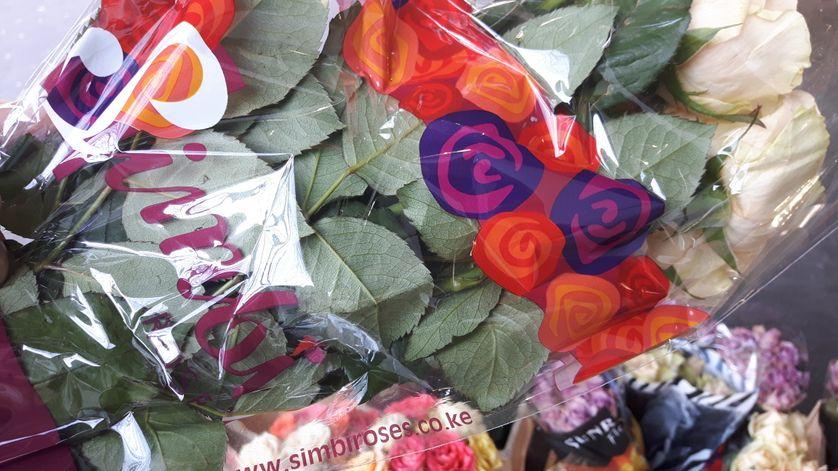 Roses du Kenya vendues 5 euros dans un supermarché. On voit la provenance, grâce à l'adresse internet.