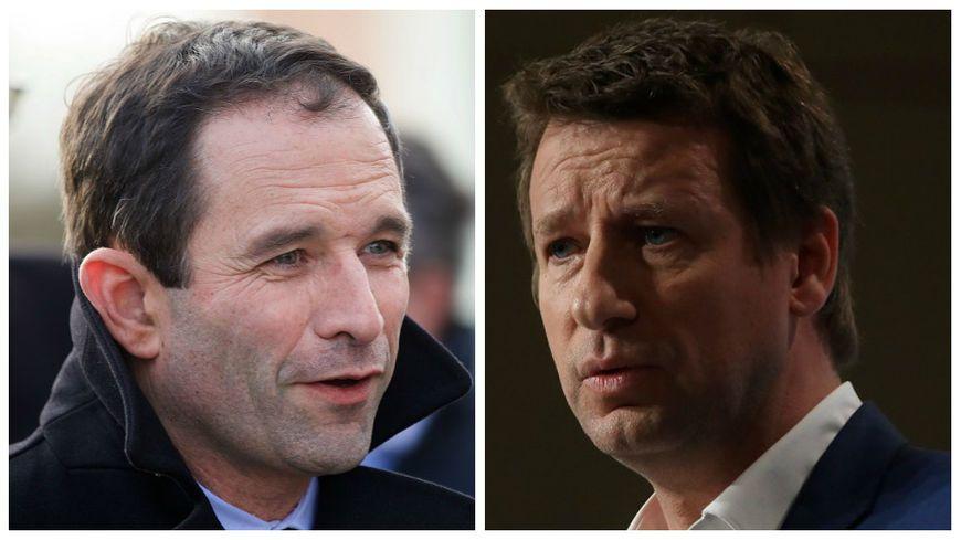 Benoit Hamon et Yannick Jadot : le second a décidé de se retirer et de rejoindre la candidature du premier à la présidentielle. © Maxppp - Johan Ben Azzouz/ Olivier Lejeune