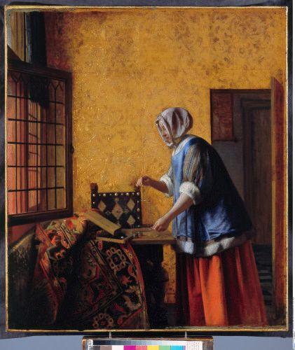 Pieter de Hooch, La Peseuse d'or vers 1664 Berlin Staatliche