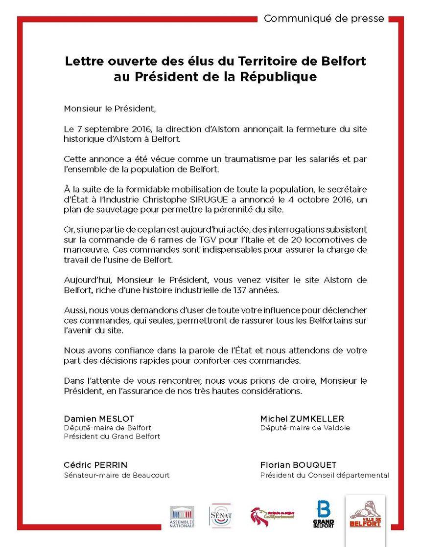 La lettre ouverte des élus du Territoire de Belfort