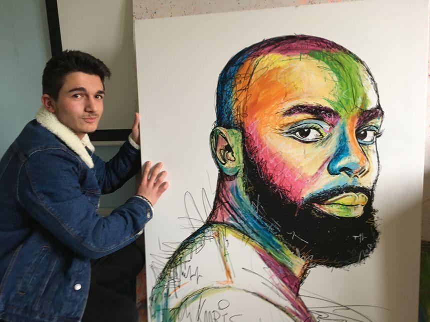 Fan de rap, Benjamin 18 ans a fait le portrait de Kaaris toujours dans son style street art.