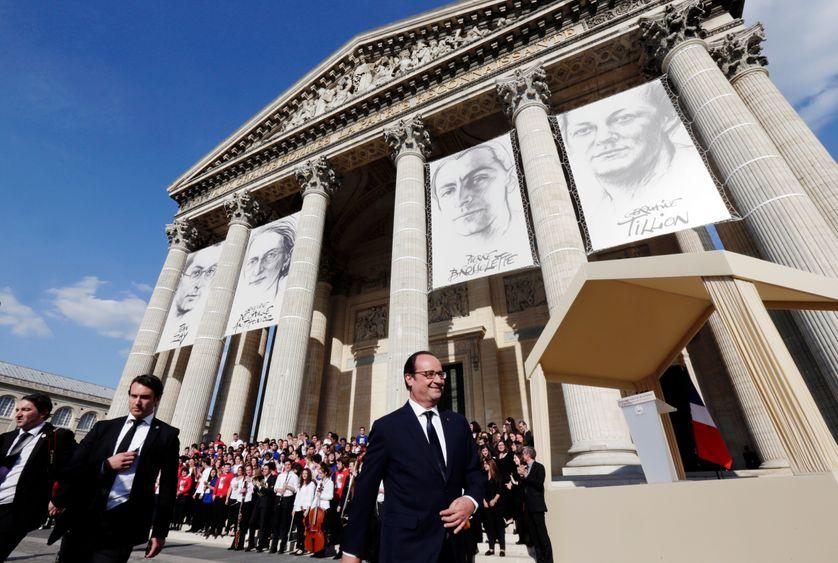 François Hollande lors de la cérémonie d'entrée au Panthéon de quatre figures de la Résistance le 27 mai 2015