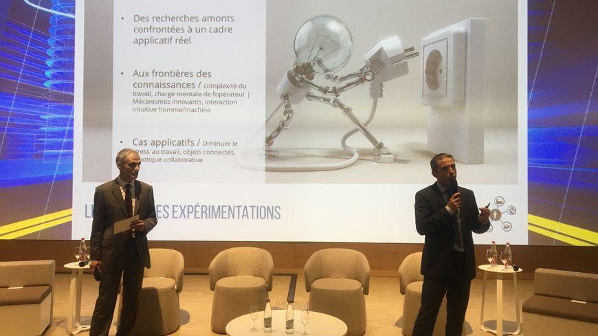 Inauguration de Factolab au Campus RDI Michelin Ladoux Michel Dhome son directeur et Nicolas Jeunet directeur de recherche Michelin