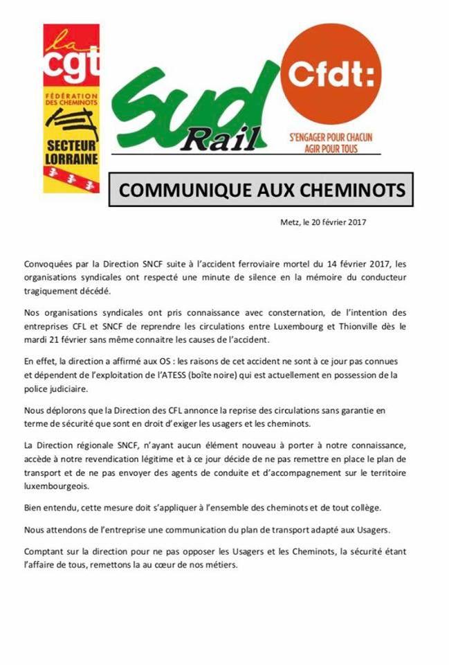 Communiqué des syndicats de cheminots lorrains en date du 20 février 2017.