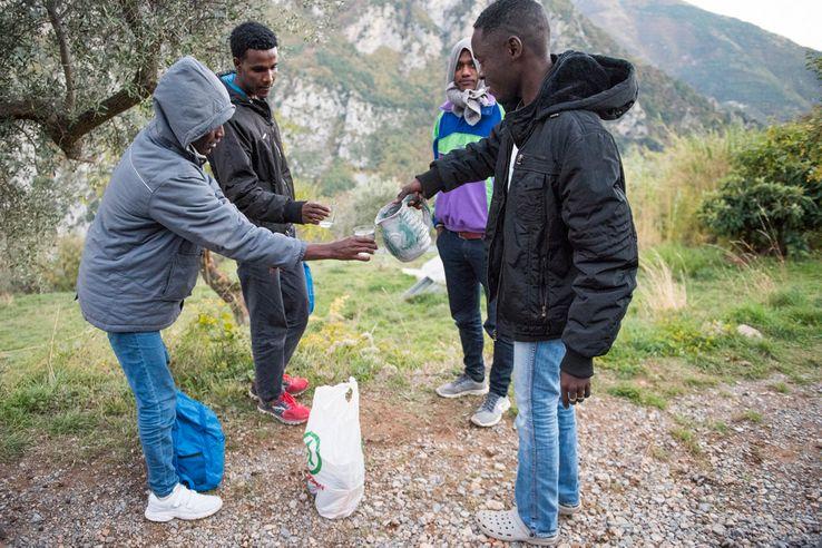 Breil-sur-Roya, des migrants erythréens (novembre 2016)