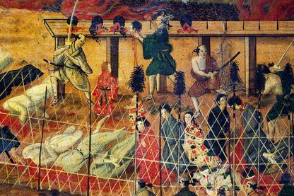 Peinture du martyre des pères jésuites à Nagasaki en 1622 - Auteur inconnu