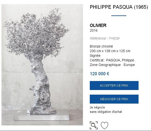 Mise en vente d'une oeuvre de Philippe Pasqua pour 120 000 euros sur le site Artviatic