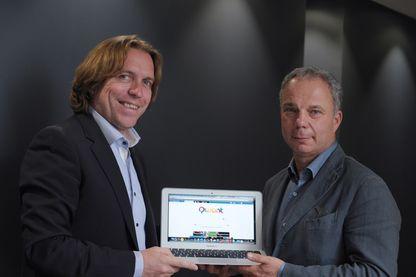 """Le moteur de recherche internet français """"Qwant"""", lancé en 2013. A gauche, le directeur général Eric Leandri ; à droite le président Jean-Manuel Rozan"""