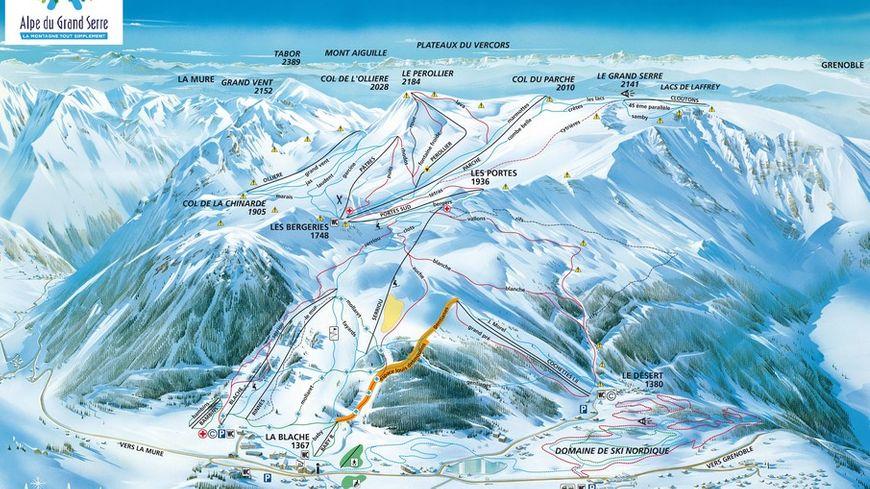 Le plan des pistes dessiné en 1987 par Pierre Novat et modifié selon les nouveaux aménagements (©Atelier Pierre Novat)