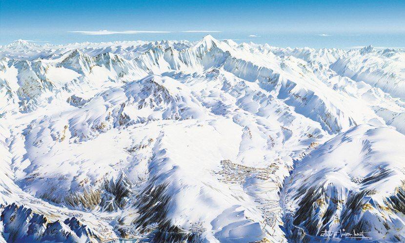 Un panorama de l'Alpe d'Huez réalisé par les enfants de Pierre Novat ©Atelier Pierre Novat
