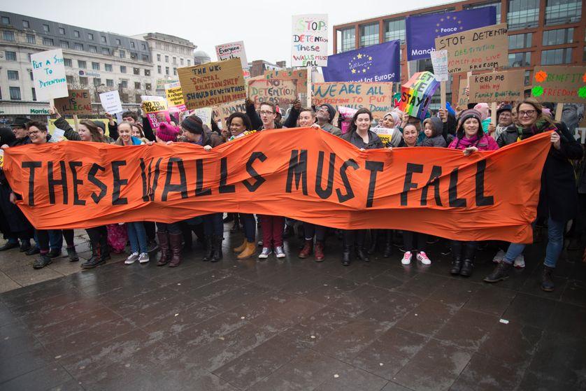 Manifestation à Manchester contre la politique migratoire des Etats-Unis