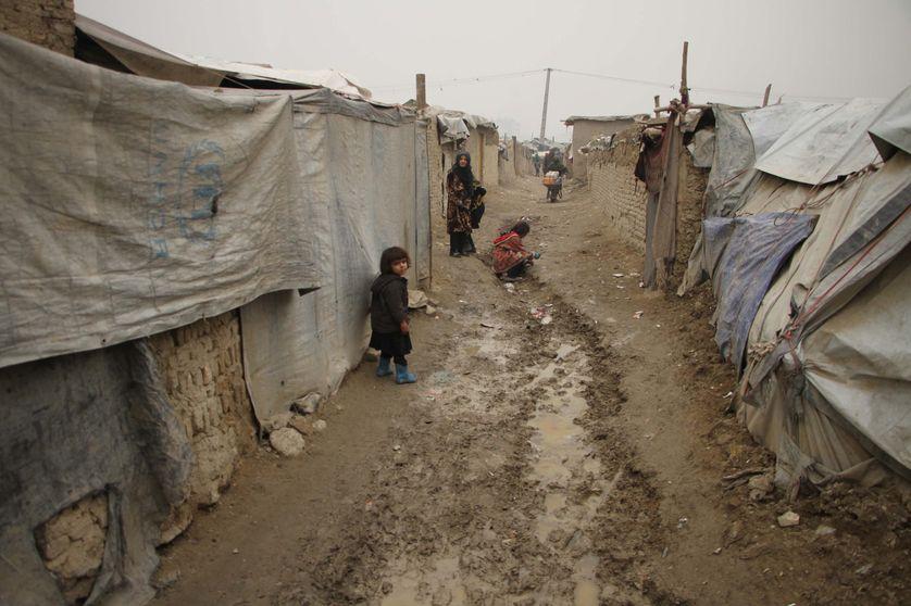 Des réfugiés afghans, en provenance de provinces où les combats continuent, se retrouvent ici à Kaboul dans ce camp de bric et de broc (22/1/2017)