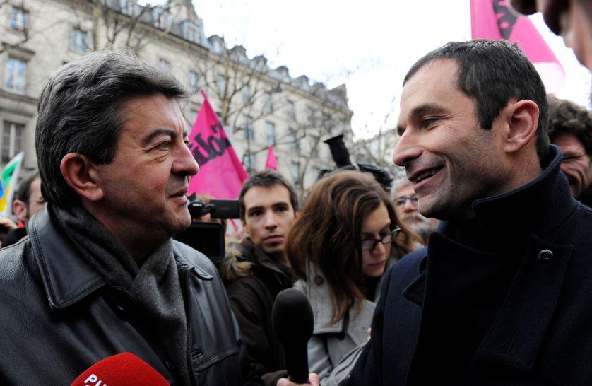 Jean-Luc Mélenchon et Benoit Hamon en janvier 2010