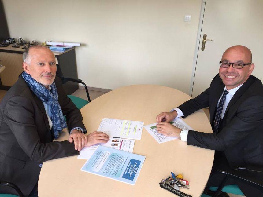 Le proviseur du lycée professionnel Antoine Franck Vuillemot et son adjoint Abdelbasset Louali