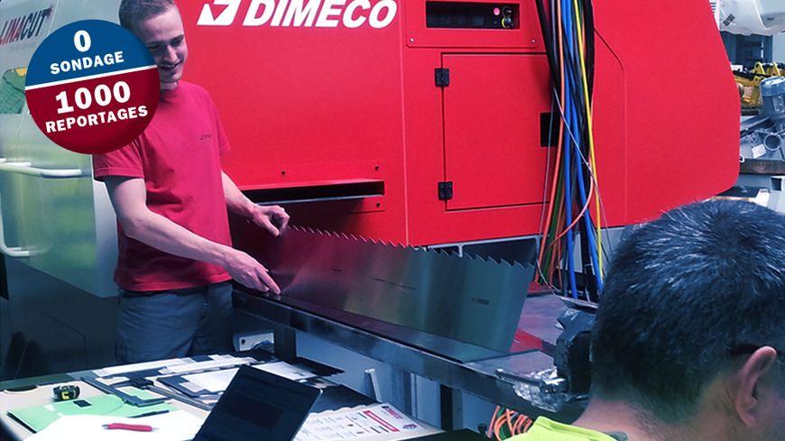 Dimeco emploie une centaine de salariés à Pirey près de Besançon. L'entreprise fabrique des machines pour le travail de la tôle en bobine.
